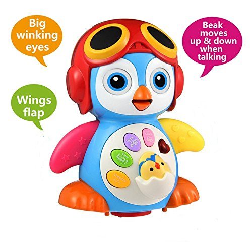 Baby Toys 6 to 12 Months up ,Lovely Smart Swing Dancing Penguin Early EQ Education ,Music and Learning ,Walking ,Singing,Flashing LED Lights, Voice Answers(New Gifts Toys for Toddlers Boys & Girls )