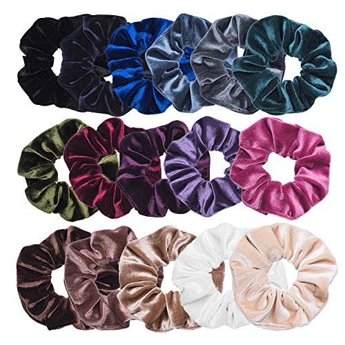 VEMAI 16 Pack Hair Scrunchies Velvet Scrunchy Elastics Bobble Hair Bands Ties Scrunchies by VEMAI