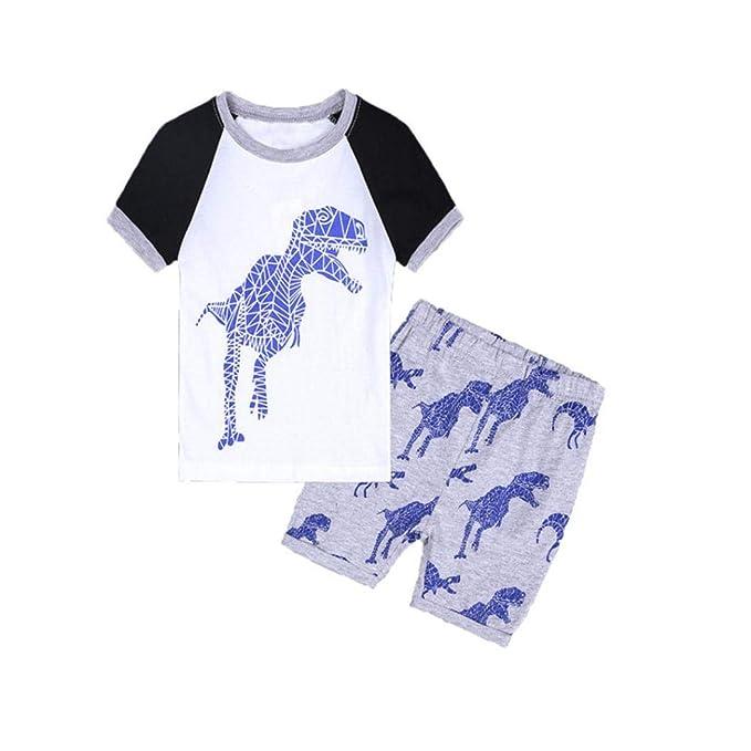 c7344c028 Toddler Kids Baby Boys Dinosaur Pajamas Cartoon Print T Shirt Tops Shorts  Outfits