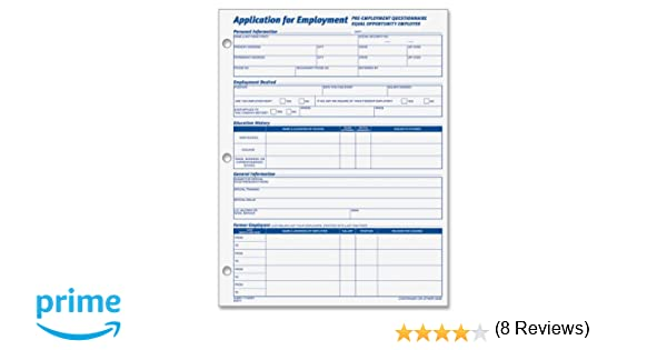 AmazonCom  Adams Applications For Employment  X  Inch