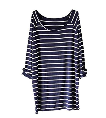 AsherFashion Womens White Striped T shirt