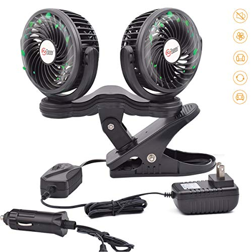TN TONNY Dual Head Clip Fan, 4 Inches Electric Car Clip Fans 360° Rotatable,12V Cooling Air Fan with Stepless Speed Regulation for Vehicle or -