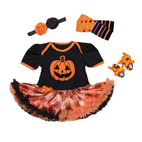 4Pcs Outfits Baby Girls Halloween Party Tutu Dress Headband Leg Warmers Flower Shoes