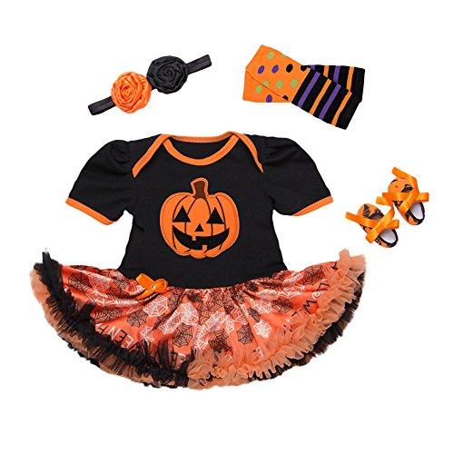 4Pcs Outfits Baby Girls Halloween Party Tutu Dress Headband Leg Warmers Flower (5 Month Old Baby Girl Halloween Costume)