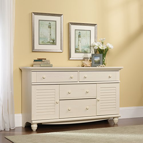 Sauder 158016 Harbor View Dresser, L 58.27 x W 17.64 x H 33.74 , Antiqued White finish