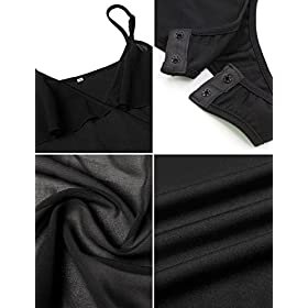 - 51LyGyKpZFL - Queen.M Women's Deep V Neck Cold Shoulder Ruffle Sleeve Wrap Front Rompers Leotard Tops Bodysuit Short Jumpsuit