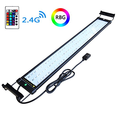 Aquarium Light Hood - COODIA Aquarium Hood Lighting Color Changing Remote Controlled Dimmable RGBW LED Light for Aquarium/Fish Tank, Extendable (For Fresh and Salt Water)