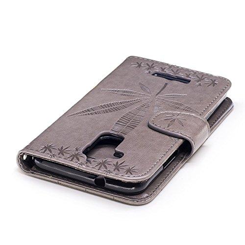 SRY-Funda Para Asus Zenfone 3 Max ZC520TL cubierta del caso, con cordón, ranura para tarjetas, hebilla magnética y el soporte incorporado para abrir el teléfono Shell Protege tu teléfono ( Color : Ros Gray