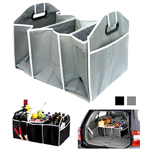 (JEWELS FASHION Portable Collapsible Folding Flat 3 Large Sized Compartments Trunk Auto Organizer for Car SUV Truck Van Easy to Store Anywhere with Reinforced Handles for Easy Transport)