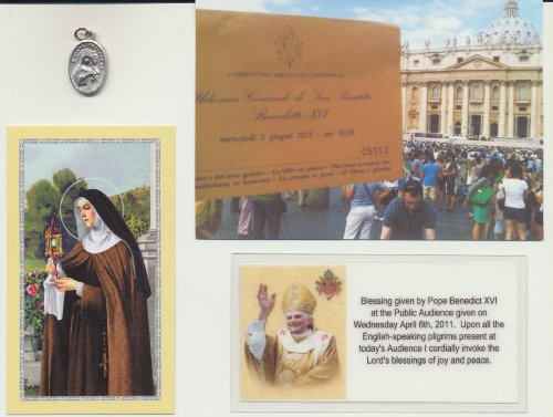 Saint St Claire Medal Pope Blessed 6/1/2011 with Velour Bag and Holy Card