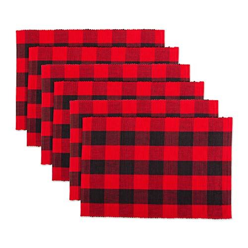 DII CAMZ11212 100% Cotton, Machine Washable, Everyday Buffalo Check Placemat for Dinner Parties & Holidays, Red and Black