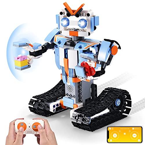 OMWAY 원격 제어로봇 건물 장난감 장비 줄기 프로젝트 아이들을위한 연령대 8-12 크리스마스를 생일 선물을 위한 소년 소녀 RC 장난감 창설자 설정 먼&앱 수치제어&로봇식 장난감한 청소년