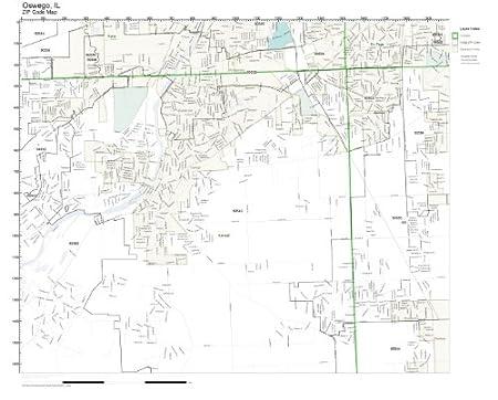 Oswego Il Zip Code Map.Amazon Com Zip Code Wall Map Of Oswego Il Zip Code Map Not