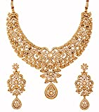 Touchstone Women's Antique Toned Bridal Earring and Necklace Set