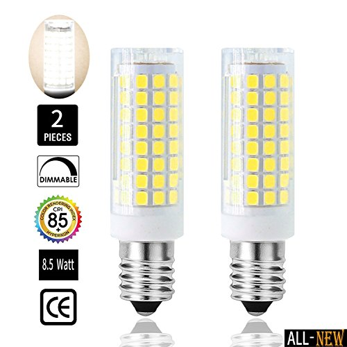 E12 LED Bulbs,All-New (102LEDs)- 8.5W 75W or 100W Equivalent halogen Repalcement 850 Lumens, Candelabra Base,110, 120v,130 Volt,Daylight White, Replaces T4 /T3 JD Type Clear E12 Light Bulb (2 Pack) (120v T3 Dimmable E12 Candelabra)