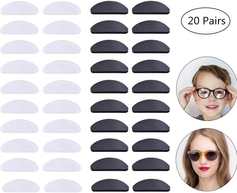 Yongbest Gafas Autoadhesivas,20 Pares Almohadillas de Silicona para La Nariz Almohadillas Antideslizantes Autoadhesivas para Gafas de Sol