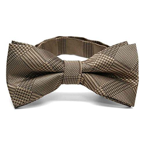 (TieMart Toffee Brown Michael Glen Plaid Band Collar Bow Tie)