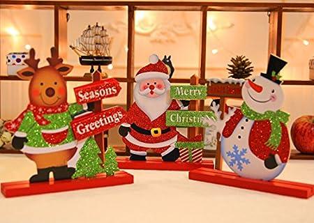 Fashionclubs Juego de Mesa Adorno de Navidad, 3pcs/Set de Madera Brillantes para decoración de hogar Adornos Navidad decoración de la Mesa de Navidad, Papá Noel, muñeco de Nieve y Ciervos, 20cmx18 cm: