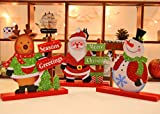 Christmas Tabletop Ornament Set,Fashionclubs 3pcs/set Wooden Glitter Christmas Holiday Gift Home Ornaments Decoration Table Decor,Christmas Santa Claus,Snowman and Deer,20cmx18cm