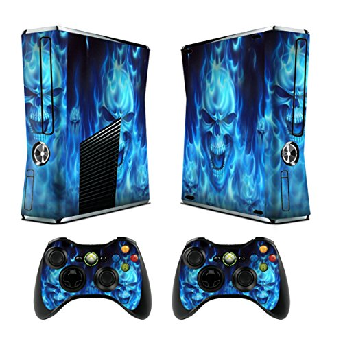 Skins Stickers for Xbox 360 Games Console Decals Xbox 360 Slim Skins Stickers with Two Wireless Controller Decals - Skull of Blue Fire