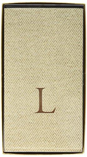 Entertaining with Caspari Jute Herringbone Paper Linen Guest Towels, Monogram Initial L, Pack of 24