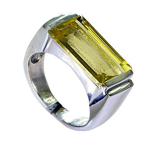 - Genuine Lemon Quartz Ring Handmade Emerald Cut Bezel Style 925 Sterling Silver Size 5,6,7,8,9,10,11,12