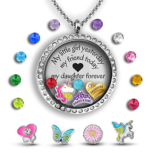 Unicorn Necklace Mother Daughter Necklace Father Daughter Gifts 30mm Floating Charm Locket