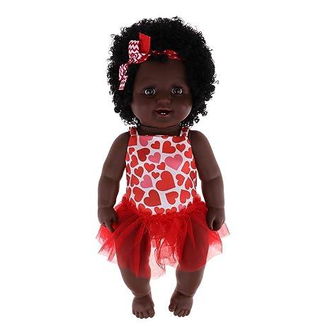 Amazon.es: FLAMEER Simulada Muñeca Bebé Afroamericana Reborn de Silicona con Juegos de Ropa de Vestir Mini 20 Pulgadas - Rojo - Niña: Juguetes y juegos