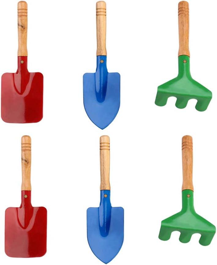 ni/ños y j/óvenes para ni/ños mini herramientas de jard/ín para la playa mango de madera TOYANDONA Juego de 6 herramientas de jard/ín para ni/ños con esp/átula de pala ni/ñas