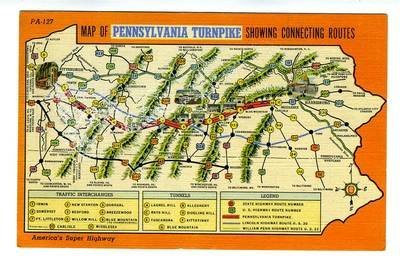 Map of Pennsylvania Turnpike Linen Postcard Showing Connecting Routes