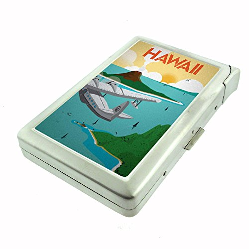 Perfection In Style Metal Cigarette Case with Built In Lighter Vintage Travel Posters Design 014