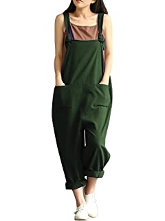 5f92da7e90817 Sobrisah Women's Linen Overalls Baggy Adjustable Strap Sleeveless Jumpsuits  Casual Loose Wide Leg Dungarees Rompers
