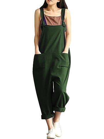 d7f6faa44ec Women s Plus Size Baggy Casual Wide Leg Sleeveless Cotton Rompers Jumpsuit  Vintage Haren Overalls