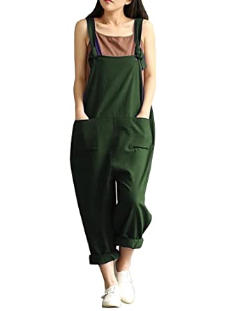 3d058667c124 Sobrisah Womens Cotton Plus Size Overalls Baggy Bibs Jumpsuits 2XL Army  Green Tag S