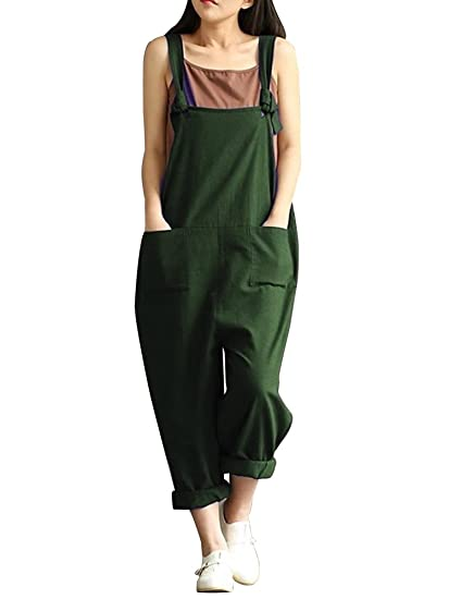 7c1191b08ef Sobrisah Women s Plus Size Linen Overalls Baggy Adjustable Strap Sleeveless  Jumpsuits Casual Loose Wide Leg Dungarees