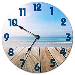 DECK ON THE OCEAN BEACH CLOCK Large 10.5 Wall Clock Decorative Round Novelty Clock Handmade
