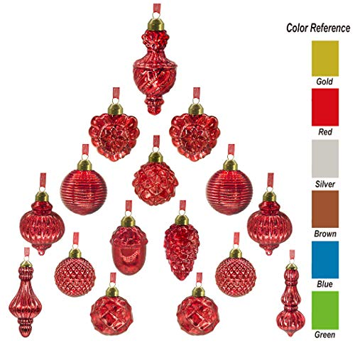 youseexmas Antique Mercury Glass Christmas Ornaments Pack of 16 (Red)