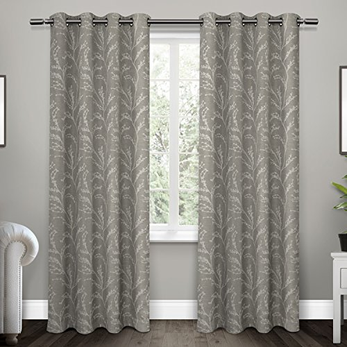 Exclusive Home Kilberry Woven Room Darkening Grommet Top Window Curtain Panel Pair, Ash Grey, 52