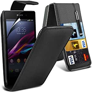 Sony Xperia Z1 compacto superior de la PU 3 créditos / Cuero Debit Card Slots tirón de la piel cubierta Case + LCD Protector de pantalla + Retractable Stylus Pen (Negro) Por Spyrox
