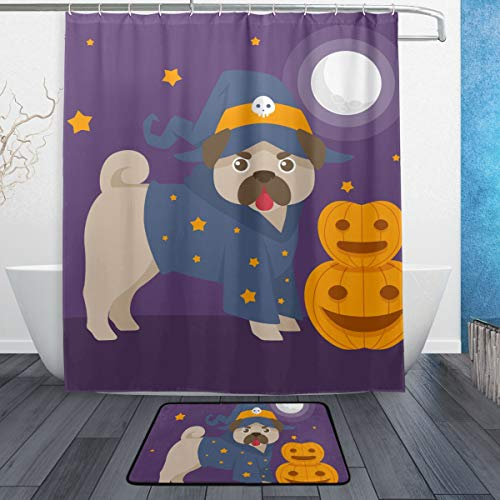 LNXR Fun Pug with Halloween Costume Waterproof Shower Curtain and mats Rugs Set for Bathroom