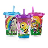 Nuby 3-Pack Stackable Printed Wash or Toss Straw Cups, 10 Ounce, Styles May Vary