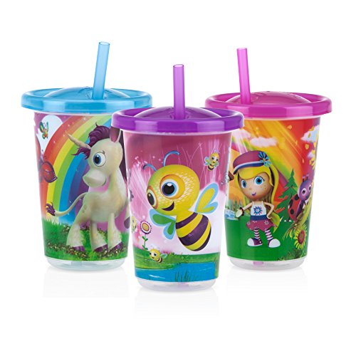 (Nuby 3-Pack Stackable Printed Wash or Toss Straw Cups, 10 Ounce, Styles May Vary)