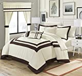 Perfect Home 20 Piece Bernard Pieced Color Blocked Complete Master Bedroom Ensemble Includes Comforter Set, sheet set and window treatments. King, Beige