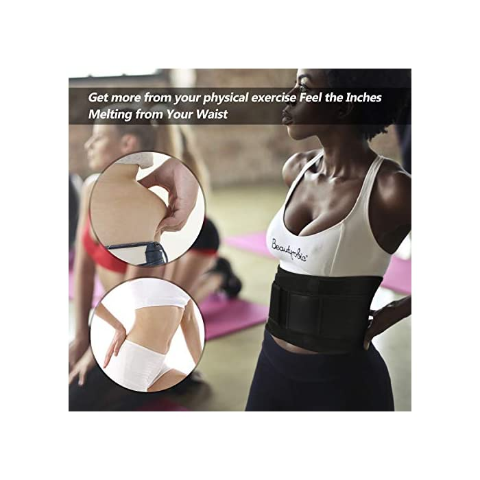 51LyKt4mOSL ▶ STIMULATE FAT BURN LOSE PESO ---- El reductor de la cintura para adelgazar de las mujeres aumenta el calor del cuerpo para promover la transpiración durante sus actividades deportivas. Maximice su quemadura y pierda esa grasa abdominal rápidamente conservando el calor corporal y eliminando el exceso de peso del agua, especialmente en su área abdominal con esta envoltura estomacal. Cintura adecuada: 85-89 cm. ▶ SOPORTE DE RESPALDO MANTENGA SALUDABLE --- Aumente el velcro y los 4 huesos de acrílico reforzados encerrados en un lienzo grueso en la parte posterior ofrecen compresión abdominal instantánea y soporte lumbar; Cinturón de fitness proporciona compresión para apoyar la espalda baja y los músculos abdominales. Le permite tener el soporte adecuado y evitar el dolor y promover el fortalecimiento muscular en las áreas lumbar y abdominal, mejorar la postura y estabilizar la columna vertebral. ▶ CINTURÓN DE BODA PARA ENTRENAMIENTO DE ENTRENADOR DE CINTURA ---- Fabricado con un tejido suave y elástico de alta calidad, hecho para durar y adaptarse a la forma de su cuerpo sin irritar su piel. El cierre de velcro permite el ajuste de acuerdo con el tamaño, para una mayor comodidad y transpirabilidad. Excelente para el corsé de abdomen.