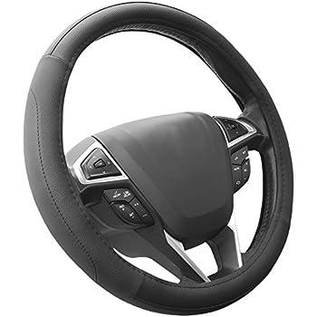 hand sewing black genuine leather steering wheel cover for 2012 2. Black Bedroom Furniture Sets. Home Design Ideas
