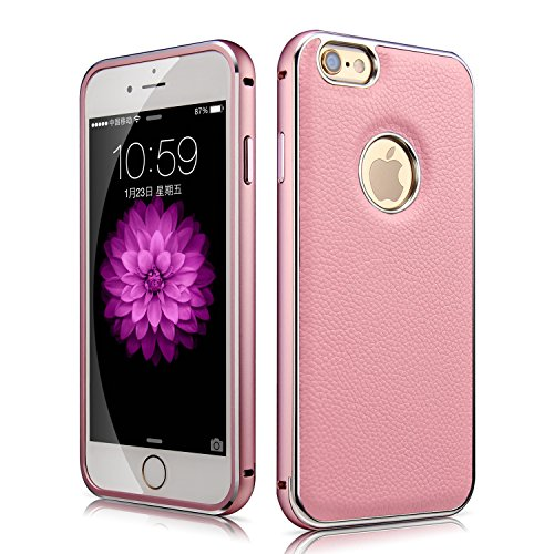 Iphone 6 Plus Leather Case, Xboun [Space Aluminium] Bumper Frame ,Premium [Litchi Lines ]Leather Skin Cover Case for Iphone 5.5 Inch (Pink)