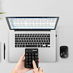 Numeric Keypad & Mouse Combo, Sunreed 2.4G Wireless Mini USB Number Pad Keyboard and Mouse for Laptop Desktop Notebook - Just One USB Port