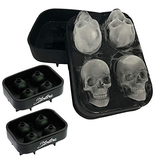 Stritra - 3D Skull Ice Mold (Pack of 2) Easy Release Silicone Mold,8 Cute and Funny Ice Skull for Whiskey,Cocktails and Juice Beverages,Black
