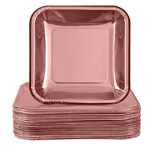 Aneco 60 Pack 9 inches Rose Gold Foil Paper Plates Disposable Square Plates for Anniversary, Wedding, Birthday Party Supplies ()
