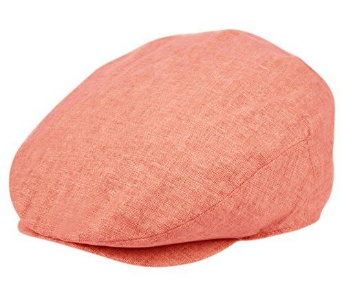 Men's Linen Flat Ivy Gatsby Summer Newsboy Hats (Red, SM)